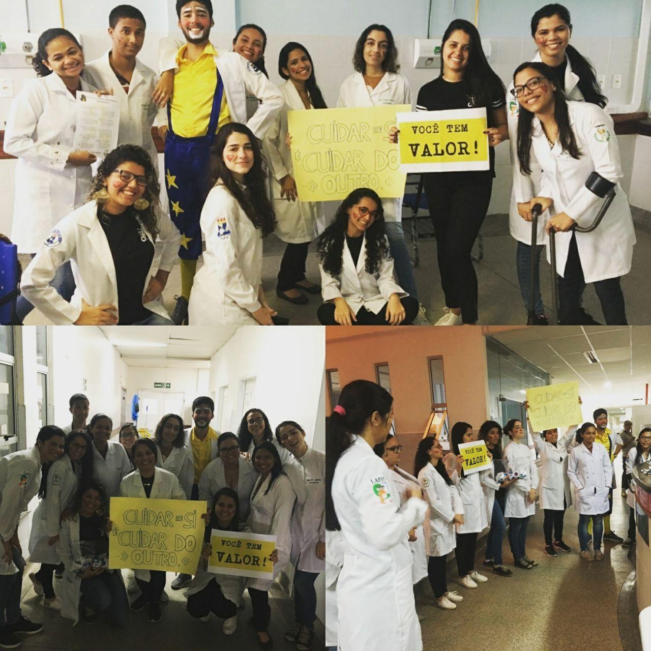 Alunos da farmácia apresentam cartazes com mensagem de incentivo de valorização da vida (Foto: colaboração professora Taís Unfer)